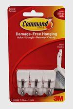 New!! 3M Command Small Utensil Hooks 3 Hooks & 4 Small Adhesive Strips 17067 NIP