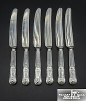 6 HEAVY VINTAGE WALKER & HALL SILVER PLATED KINGS PATTERN DESSERT KNIVES 8.5""