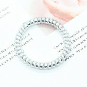 Women Girls Telephone Wire Elastic Rubber Bands Traceless Gum Ponytail Hair Ring