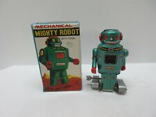 Vintage Mechanical Mighty Robot w Spark Noguchi, Japan Tin Litho Toy with Box