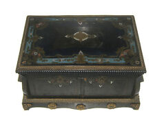 C.1900 VICTORIAN ANTIQUE WOODEN VELVET JEWELRY BOX COLLECTIBLE UNQIUE