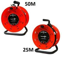 25M&50M 4 WAY HEAVY DUTY CABLE EXTENSION REEL LEAD MAINS SOCKET 13AMP WITH STAND