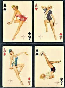 4 ALBERTO VARGAS WWII Military ACES Pinup Trading Playing Cards 1940s Mint Blue
