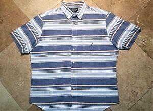 Nautica Button Front Short Sleeve Striped Shirt 100% Cotton XL