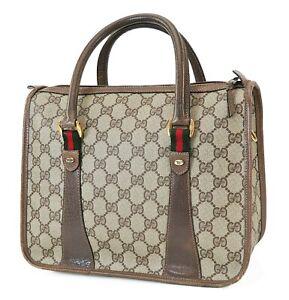 Auth Vintage GUCCI Brown GG PVC Canvas Leather Boston Hand Bag Purse #40275