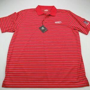 Golf Polo Shirt Men's XL Logo Short Sleeve Stripes Casual Red Lightweight