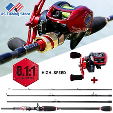 Sougayilang High Performance Baitcast Reel and Fishing Rod Combo 8.1.1 GearRatio