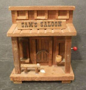 Vintage Enesco 1979 Old Western Sam's Saloon Cowboy Rare Music Box / Bank