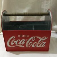 Vintage Coca Cola Tin Bottle Carrier With Wooden Handle COKE Icon Collectables