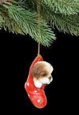 Christbaumschmuck Hund - Shih Tzu im Strumpf - niedlicher Welpe Weihnachten Deko