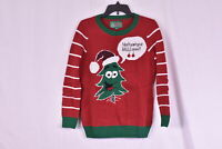 "Women's Ugly Christmas Sweater "" I dont want your balls on me!!"" Tree, Red, S"