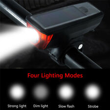 Bike Bicycle Solar LED Front Headlight Tail Rear Light USB Rechargeable+Horn