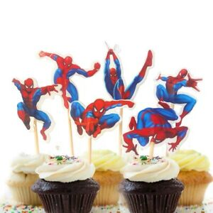 12x SPIDERMAN Cupcake Cake Toppers Kids Birthday Party