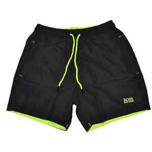 HUGO BOSS Black Swim Shorts Zip Pockets Yellow BOSS Logo Designer Trunks S,M