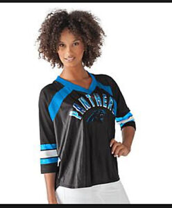 NFL Carolina PANTHERS For Her Distressed Print Blitz Jersey Tee~Large
