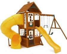 KidKraft Playhouse w/Twist n' Ride Tube Slide,Wave Slide,2 Swings,Kitchen Set,