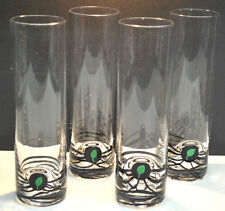 vintage TALL COCKTAIL GLASSES WITH DEPRESSED LEAF DESIGN AND LINES (SET OF 4)