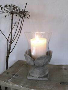 Shabby Chic Vintage Laterne Windlicht Glas Stein Blüten Brocante Hygge NEU
