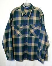 Mighty Mac Flannel Shirt Jacket Mens 2XL Cotton Blue Green Plaid Vintage