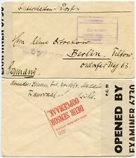 WW2 INTERNMENT CAMP DOUBLE CENSORED SOUTH AFRICA ANDALUSIA GERMANY + GB 1941