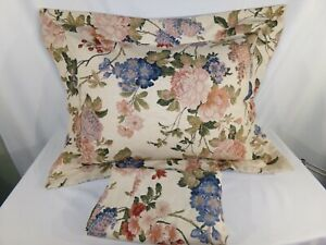 Two Tan Rose Floral STANDARD PILLOW SHAMS Linen Blend Shabby Cottage Country