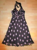 Phase Eight Silk Dress Brown Pink polka dot Spotted Halterneck Party Dress 12 UK