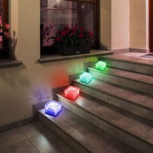 4er Set RGB LED Solar Leuchten Glas Stein Garten Deko Farbwechsler Beleuchtung