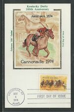 """# 1528 HORSE RACING, KENTUCKY DERBY 1974 Colorano """"Silk"""" First Day Card"""