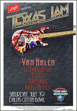 VAN HALEN DIO KROKUS BACHMAN TURNER OVERDRIVE 1986 Texxas Jam Concert Poster