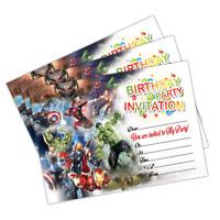 20 x Avengers Kids Birthday Party Invitations Invites Cards Girls Boys Children