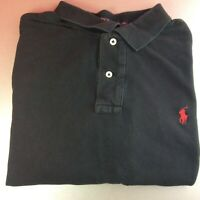 Ralph Lauren XXL 2XL Black Short Sleeve Polo Shirt Red Pony Logo Genuine