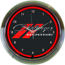 "Dodge Challenger Red Neon Hanging Wall Clock 15"" Diameter by Neonetics 8CLGCK"