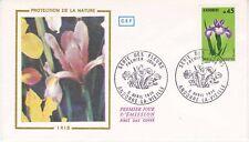 Enveloppe maximum 1er jour FDC 1974 Andorre Protection de la Nature Fleurs Iris