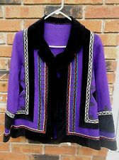 Purple/Black Wool detailed trim Jacket no size Unique Black Velvet burning man