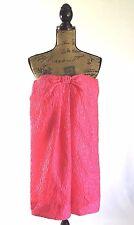 BCBG Max Azria dress M 6 silk bl raspberry pink floral bow strapless party CUTE