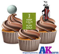 PRECUT Golf Golfing 12 Edible Cupcake Toppers Decorations Birthday Mens Ladies