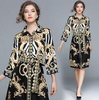 Women's Vintage Casual Modern Printed Three Quarter Sleeve Dress Lapel Slim New