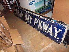 ANTIQUE NYC SUBWAY CIRCA 1917 BLUE PORCELAIN PELHAM BAY PARKWAY IRT NELKE SIGN