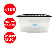 100 X 50LITRE PLASTIC STORAGE BOX! QUALITY CONTAINER WITH BLACK LID! STACKABLE!