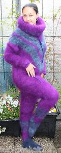 Langhaar Mohair fuzzy  sweater Catsuit purple lila  S-M