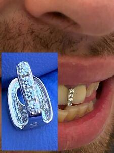 SOLID 925 Sterling Silver Gap Grillz Single Tooth Hip Hop Grill Cap Iced Diamond