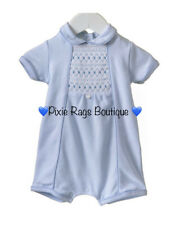 💙 Baby Boy's Traditional Style Smocked Romper Outfit💙