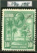 SG 166 Sierra Leone 1932 10/- green. Superb used CAT £140. RPS cert
