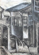 VINTAGE CHARCOAL DRAWING HOUSES
