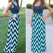 Boho Women Long Maxi Dress Striped Summer Casual Evening Club Beach Sundress
