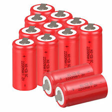 12PC Red Rechargeable Battery Sub C SC 1.2V 2200mAh Ni-Cd Batteries&Tap UK Stock