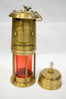 """Antique 6"""" Vintage Style Brass Nautical Miner Ship Lantern Oil Lamp Red Glass"""