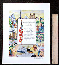 1950's Official Pledge Of Allegiance Vintage Poster Print w/WAVES Womens US Navy