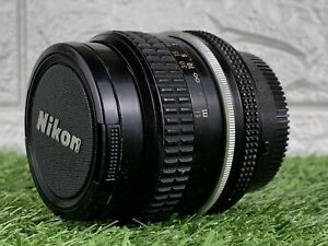 Nikon Nikkor 50mm 1:2 Lens For Nikon SLR Camera 1974 Vintage Pancake Lens w/Caps