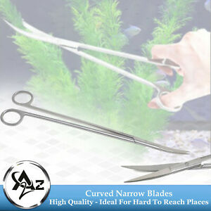 "Aquascaping Fish Aquarium Cleaning Scissors Curved 12"" Sharp/Sharp, Long Handle"